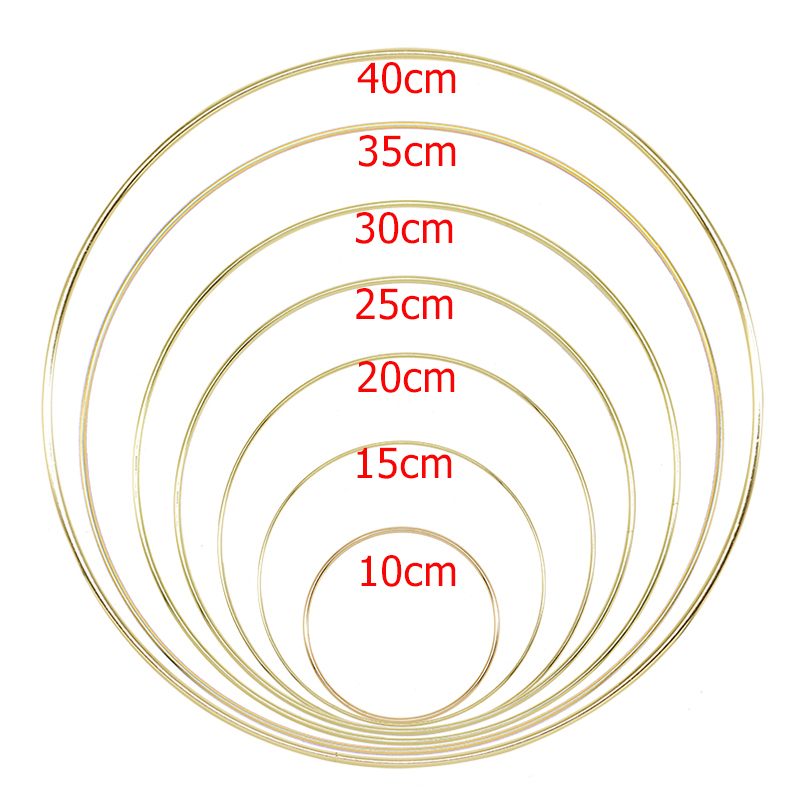 10-40cm Gold Metal Ring Hoops DIY Craft Wind Chimes Accessories Hanging Decorations For Wedding Decoration Handmade Home Decor