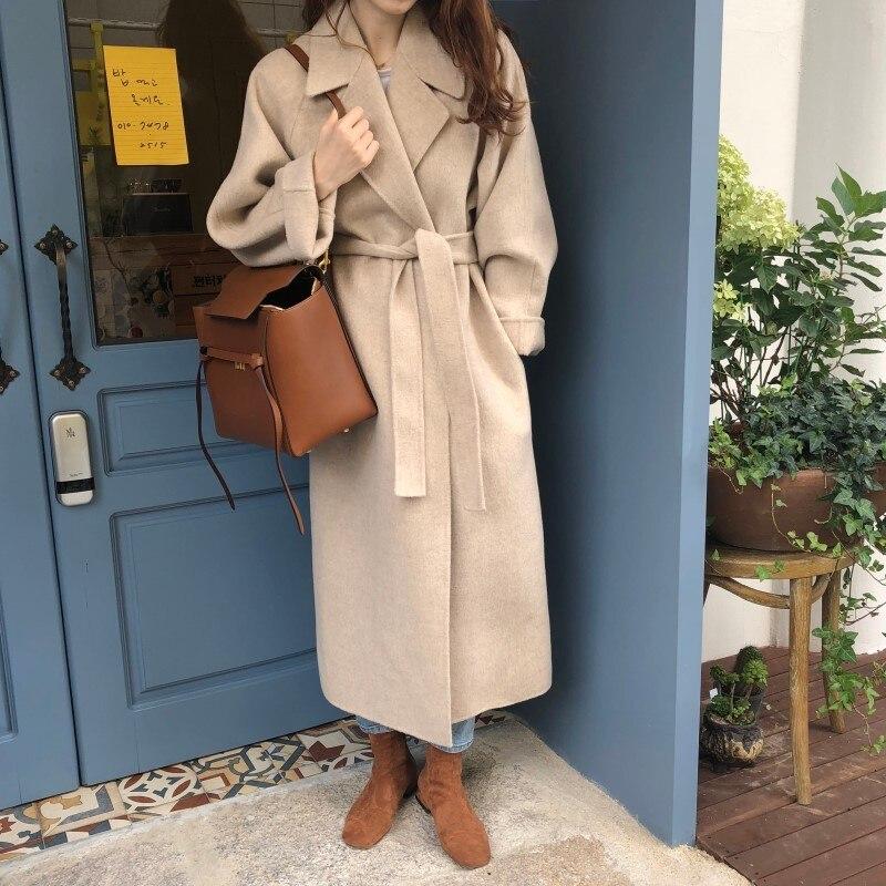 19 Winter Oversize Long Trench Coat Women Cashmere Coat Korean Lady Windbreaker Outwear Streetwear 70