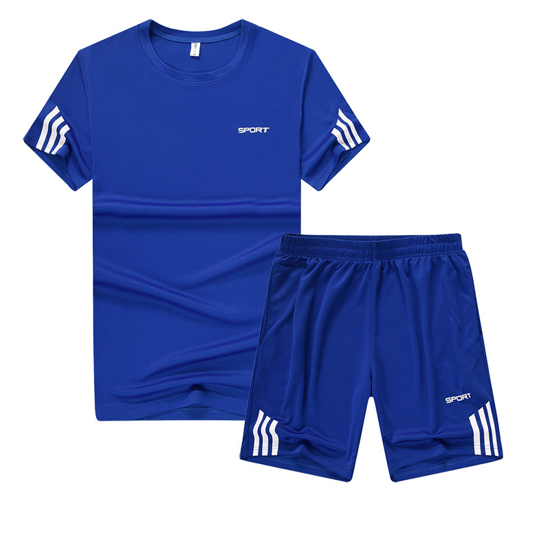 Summer Short-sleeved Fitness Suit Men's Casual T-shirt Fitness Clothing Breathable Quick-Dry Men's Running Set Sports Set Men's