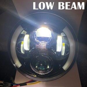 """Image 4 - 2 sztuk 7 Cal czołówki LED z efekt aureoli pomarańczowy kierunkowskaz dla lada niva 4x4 suzuki samurai 7 """"DRL Halo reflektory dla VAZ 2101"""