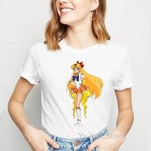 Tumblr Anime t-Shirt Sailor-Moon Harajuku Kawaii Summer Top Female Tees Vogue Femme