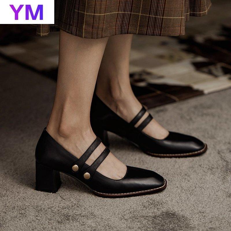 Женские туфли-лодочки на высоком квадратном каблуке, элегантные офисные Классические Кожаные Туфли-лодочки с квадратным каблуком для весн...