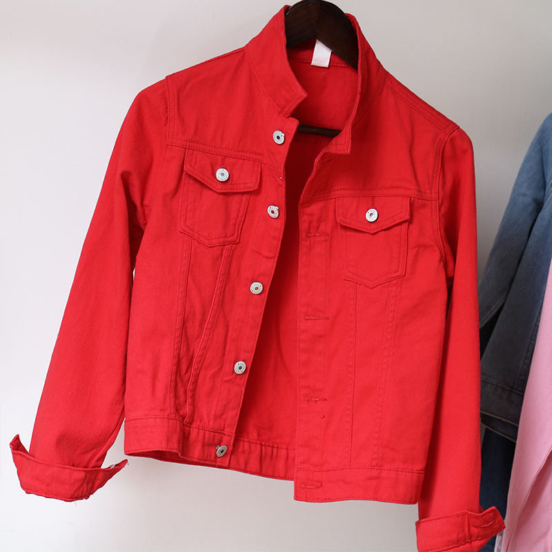 Jeans Jacket and Coats for Women 2019 Autumn Candy Color Casual Short Denim Jacket Chaqueta Mujer Casaco Jaqueta Feminina (9)