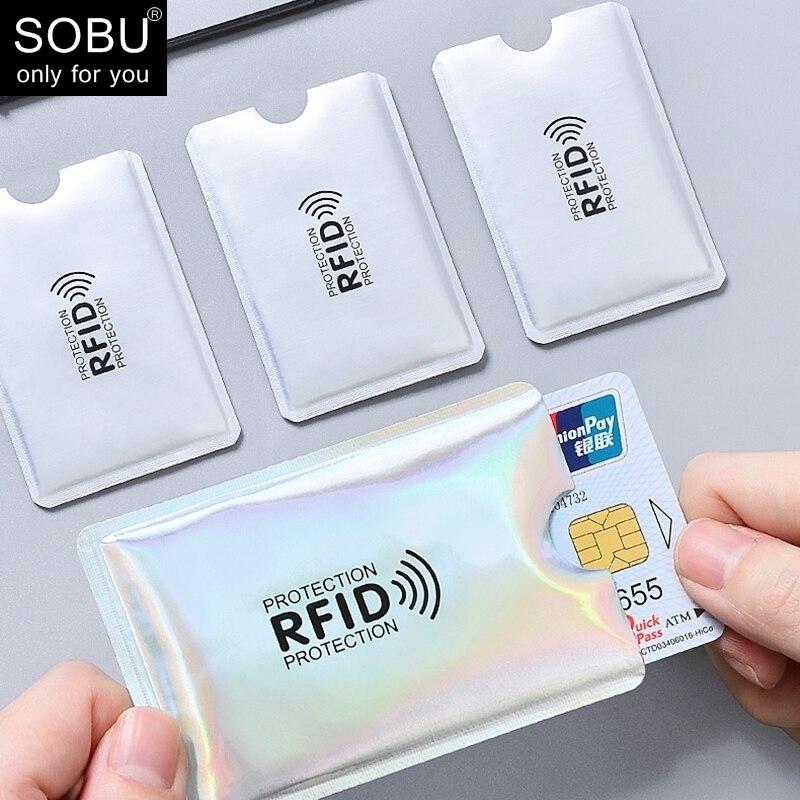 Anti Rfid Wallet Blocking Reader Lock Bank Card Holder Id Bank Card Case Protection Aluminium Metal Smart Anti-theft Credit