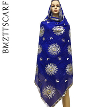 2020 New Cotton Muslim embroidery women big scarf African