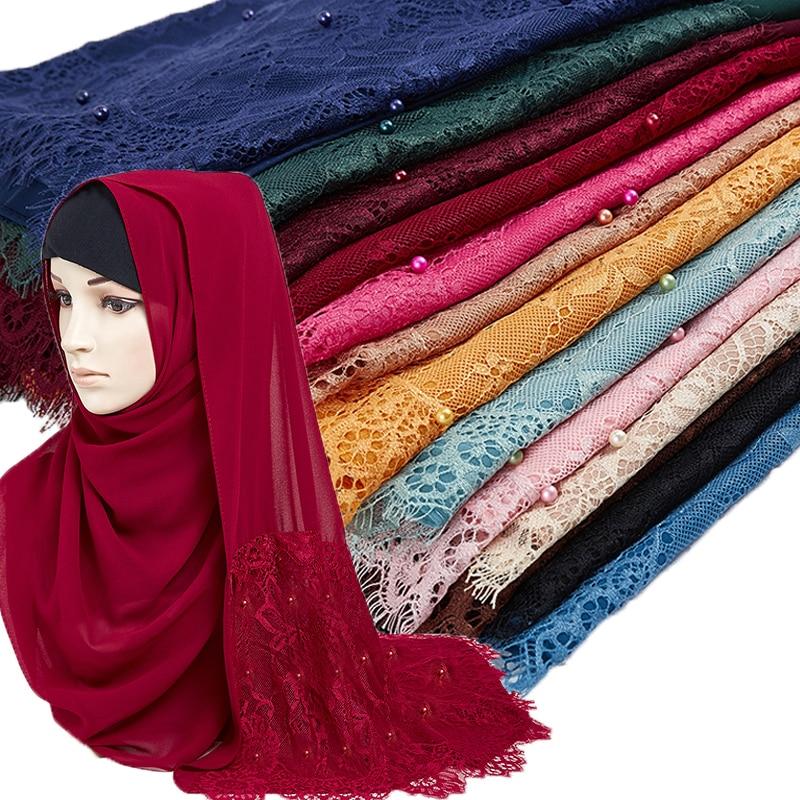 Woman Plain Buble Chiffon Lace Pearls Scarf Muslim Scarf Shawl Muslim Solid Color Lady Muffler Luxury Foulard Femme Hijabs