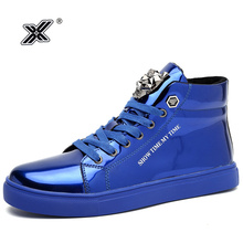 X Brand Hot Fashion Shiny Blue Red High top Men Sneakers Out