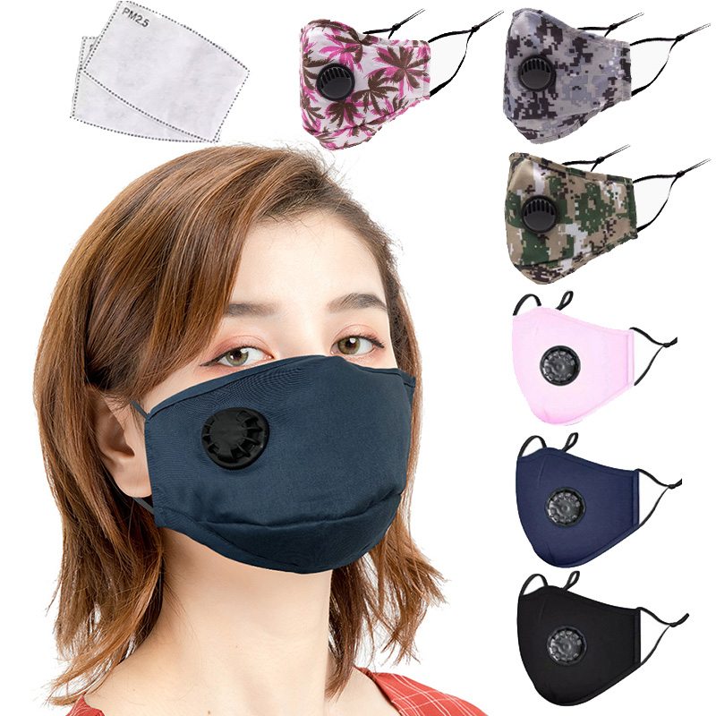 Reusable Fabric Cotton Adult Mask PM2.5 Dust Anti Haze Respirator Windproof Mouth Masker And 2pcs Activated Carbon Masks Filter