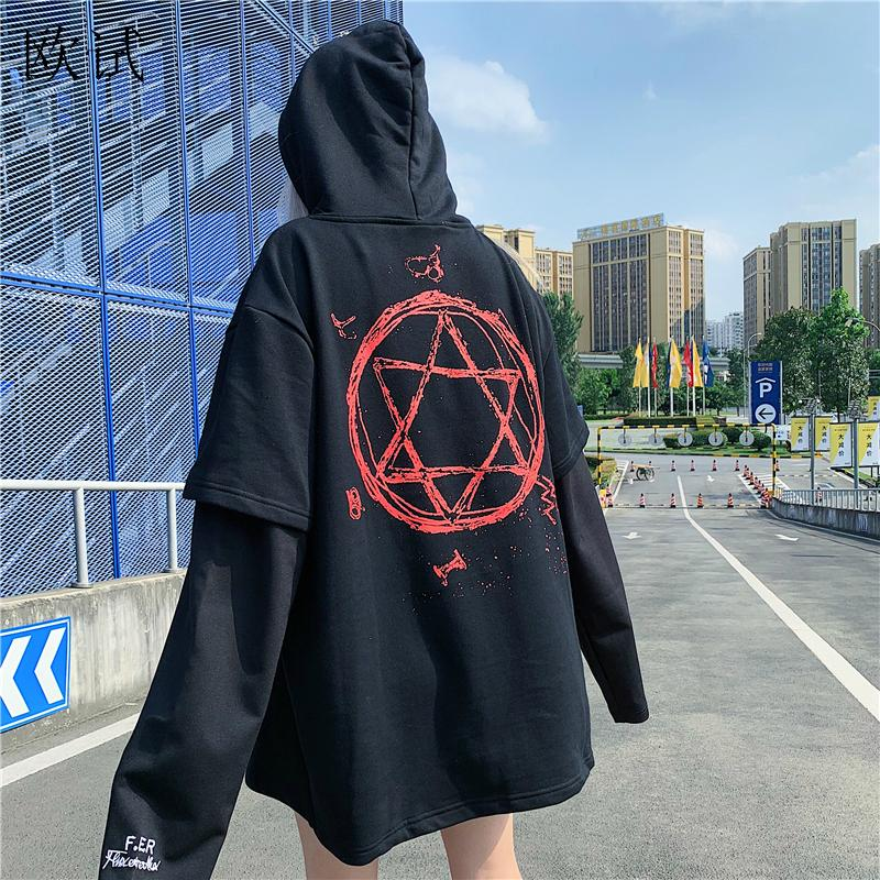 Plus Size Kpop Hoodies Sweatshirt Women Letter Streetwear Oversized Harry Styles Hoodie Magic Fake Two Pieces Gothic Autumn 2019