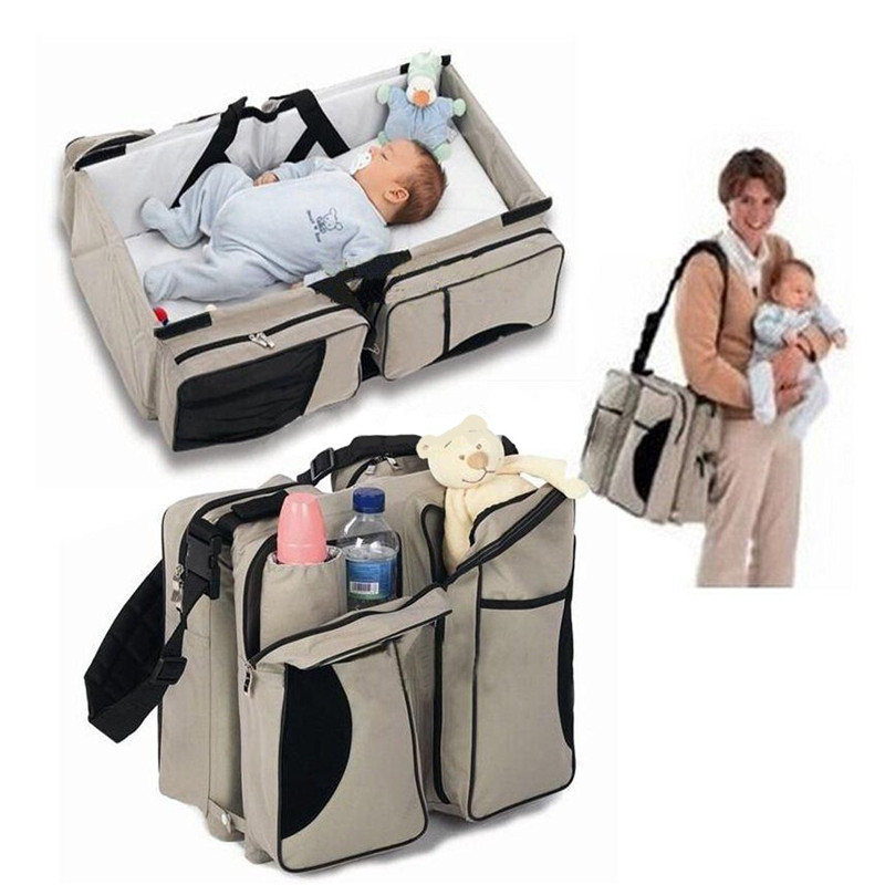 Baby 3 In 1 Waterproof Baby Travel Crib Changing Diapers Foldable Mummy Shoulder Bag Baby Nappy Bag Bassinet Crib Diapers Tote