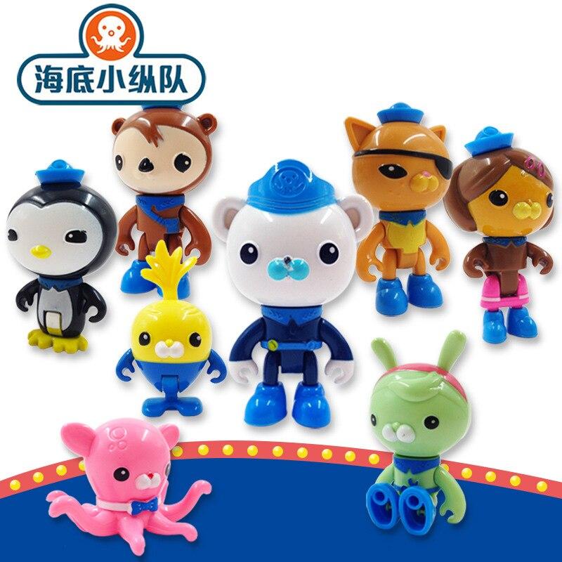 8 Pcs/Set Octonauts Action Figure Toy Cartoon Doll Barnacels Kwazii Peso Penguin Shellington Dashi Inkling Model Toys Kids Gifts
