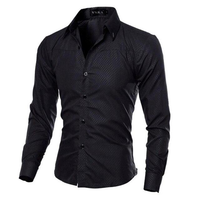 Мужская  деловая приталенная рубашка с длинными рукавами от vsego.su 4