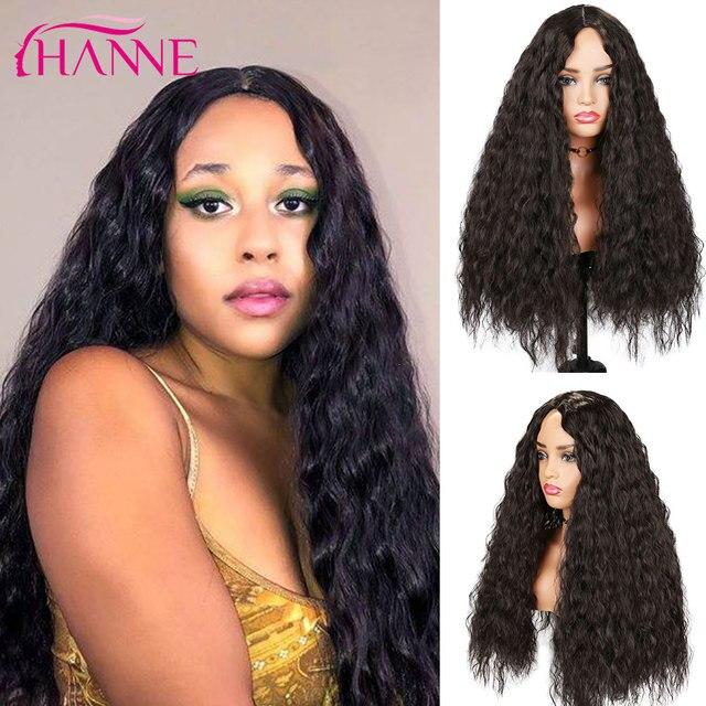 Perucas de cabelo resistentes ao calor naturais da onda profunda de brown escuro perucas onduladas longas da peruca sintética de hanne para preto/branco