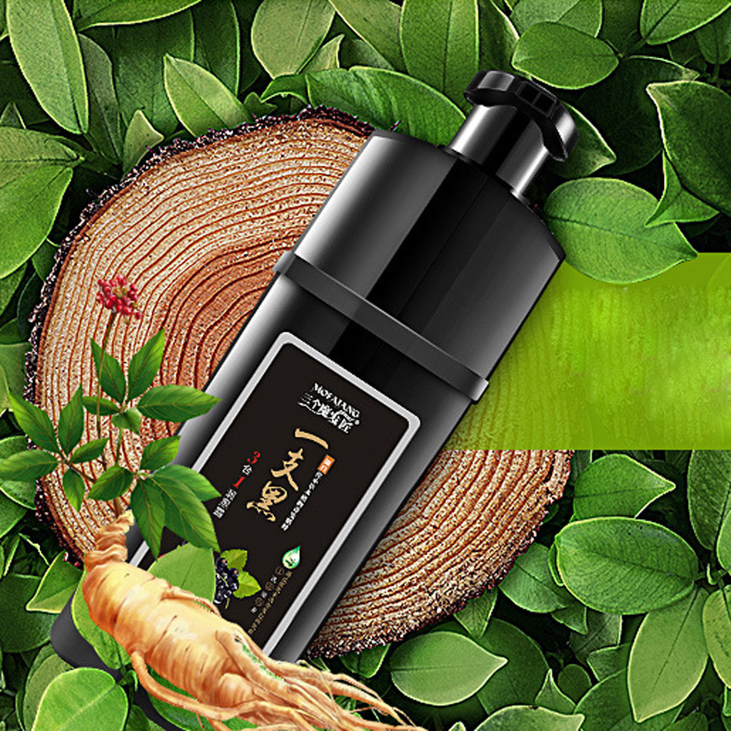 Organic Natural Fast Hair Dye Only 5 Minutes Plant Essence Black Hair Color Dye Shampoo for Cover Gray White Hair image