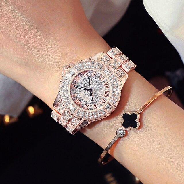 Новые роскошные часы Стразы с браслетом, женские модные часы с бриллиантами из розового золота, наручные часы из нержавеющей стали с кристаллами