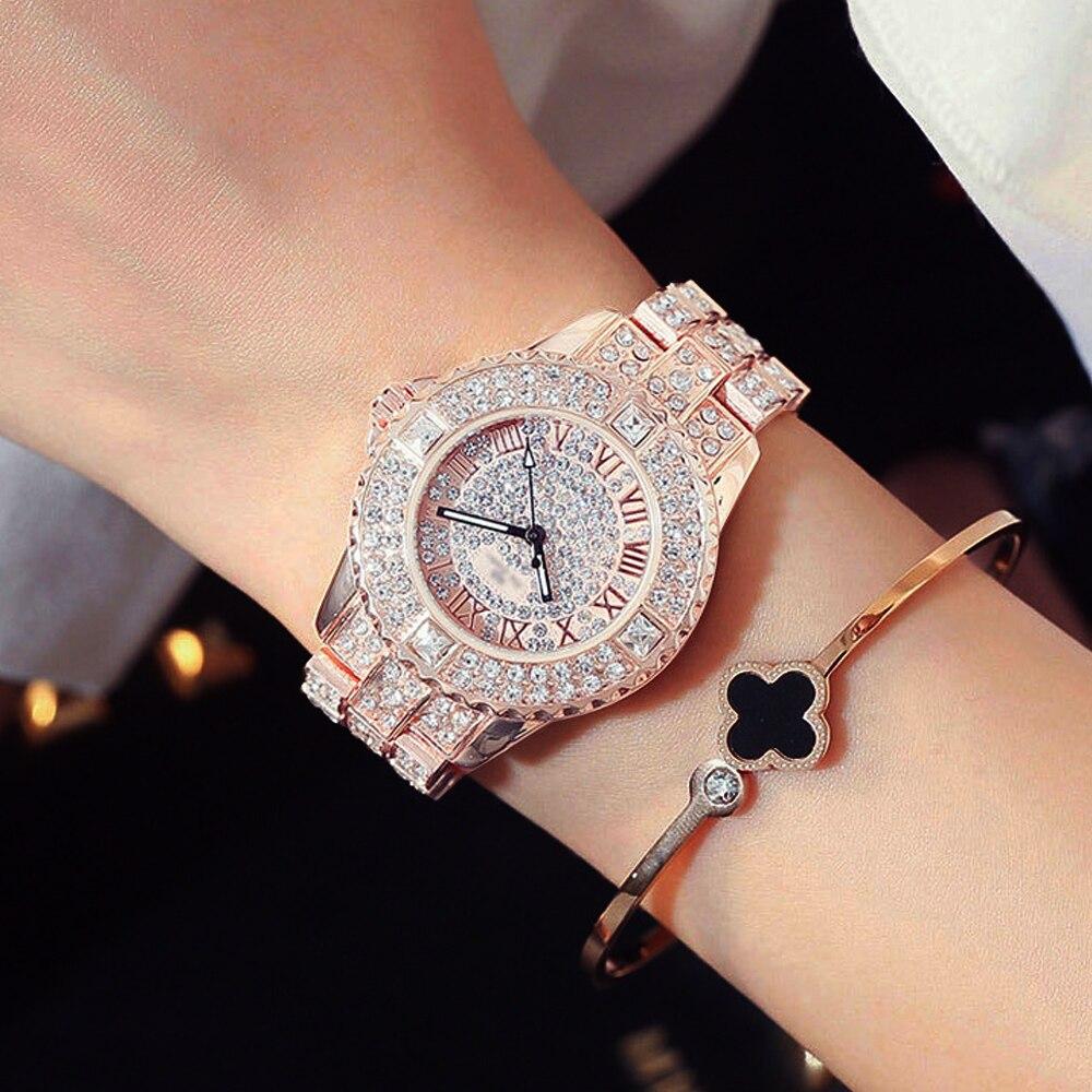 New Luxury Rhinestone Bracelet Watch Women Diamond Fashion Ladies Rose Gold Dress Watch Stainless Steel Crystal Wristwatch Clock
