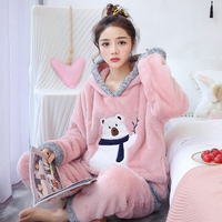 Hooded Pajama Set Women Sexy Warm Flannel Thick Cartoon Pyjamas Long Sleeve Shirt Pants Winter Sleepwear Large size pink pajamas