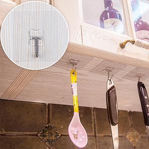 Image 2 - 2 pz/lotto Ganci Da Bagno Muro di Forte Pasta Gancio Bastone Trasparente Rimovibile Casa Chiave Towel Holder Hanger Bagno Cucina Ganci