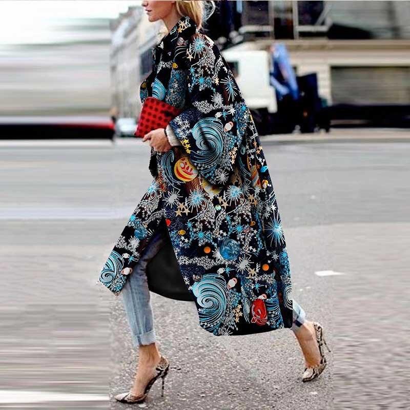 Trench Coat 2019 Autumn Winter Coat Female Casual Women's Long Coat Vintage Print Pattern Cardigan Long Sleeve Outwear Oversize
