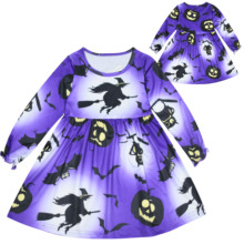 Halloween Fall/winter Kids Dresses Pumpkin Ghost Skull Spider Long Sleeve Cartoon Print Carnival Costume Dress halloween cartoon ghost print sweatshirt