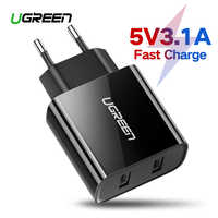 Ugreen USB Charger for iPhone 8 X 7 6 iPad 5V3.1A Smart USB Wall Charger for Samsung Galaxy S9 LG G5 Dual Mobile Phone Charger