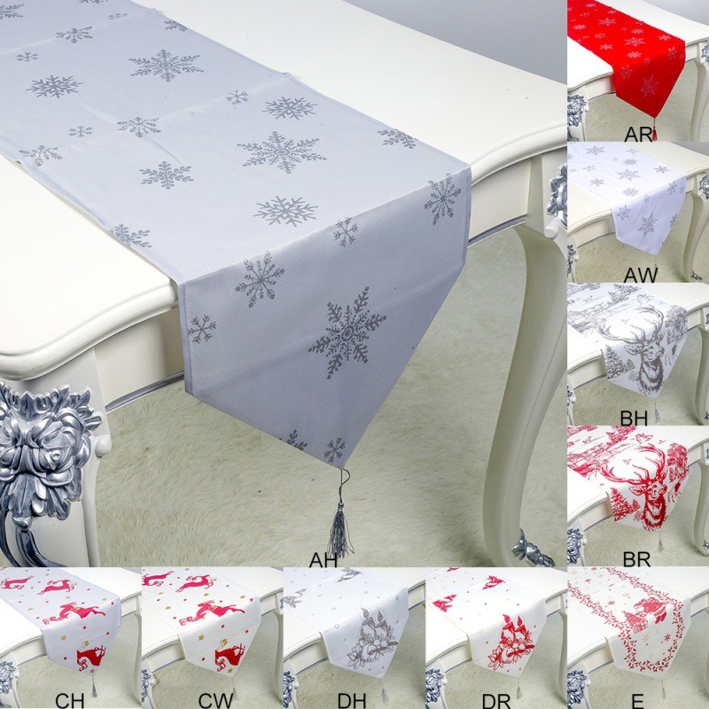 1PC 35x200cm Christmas Table Runner Mat Tablecloth Christmas Flag Home Party Table Decoration For Christmas Table Runner