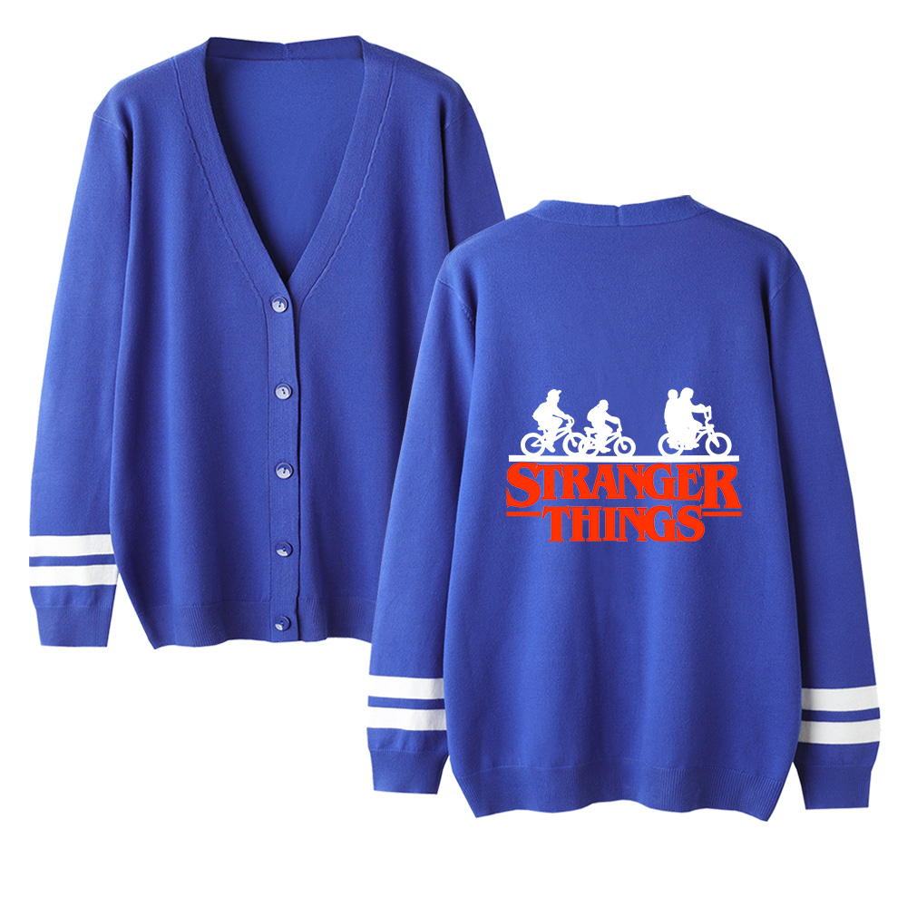 Stranger Things V-neck Cardigan Sweater Autumn Men/women Fashion Print Blue Casual Sweater Long Sleeve Knitted Cardigan Sweater