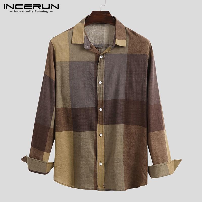 INCERUN Men Plaid Shirt Cotton Casual Lapel Long Sleeve 2020 Vintage Basic Shirts Brand Breathable Streetwear Camisa Masculina