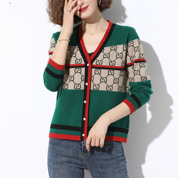 Thickening high-quality Jacquard national style knitted Cardigan Women Spring and autumn clothing new loose sweater shawl shor