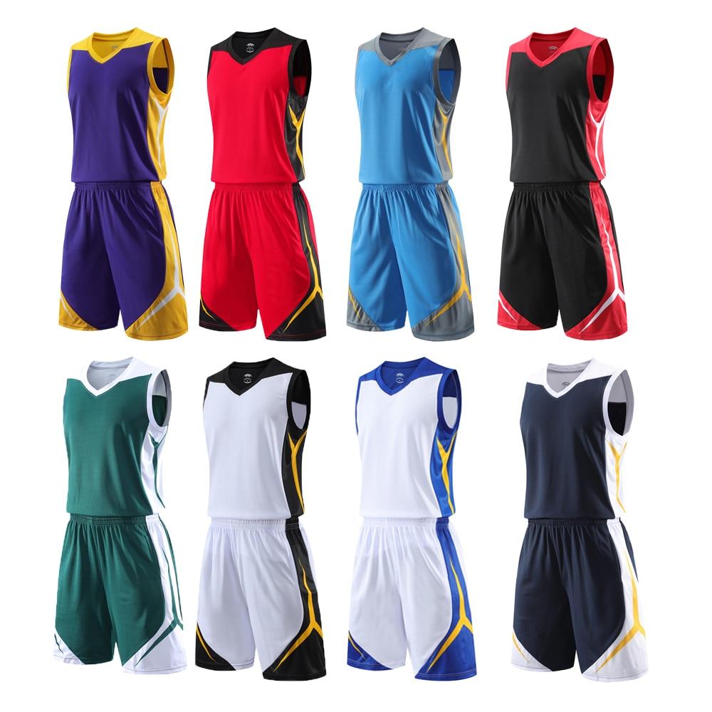 Camisa de Basquete de Equipe Conjuntos de Camisas de Basquete Camiseta de Basquete Respirável Masculina Uniformes Competição Treino Impressão Personalizada