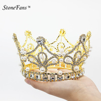 StoneFans Elegant Crystal Hair Pearl Crowns Tiaras Gold Pearl Headband Dubai Wedding Party Hair Accessories For Women Broches