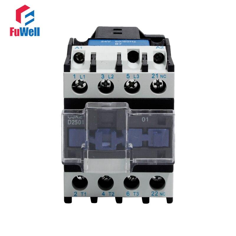 CJX2-2501 25A AC Contactor NC Normal Closed Alternating Current Contactor 24V 36V 48V 110V 220V 380V Coil Voltage Contactor
