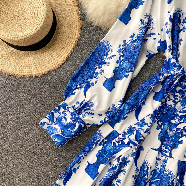 Women Court Wind Print Dress Retro Stand Collar Puff Sleeve Button Dresses Autumn Korean A-line Streetwear Short Dress 4