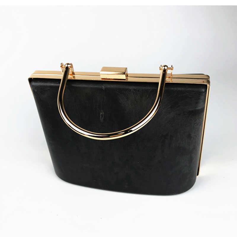 1 Set Schwarz Kunststoff Box Kupplung Griff Metall geldbörse rahmen Zubehör für, die alte Tasche Geldbörse Rahmen Obag griffe aufhänger