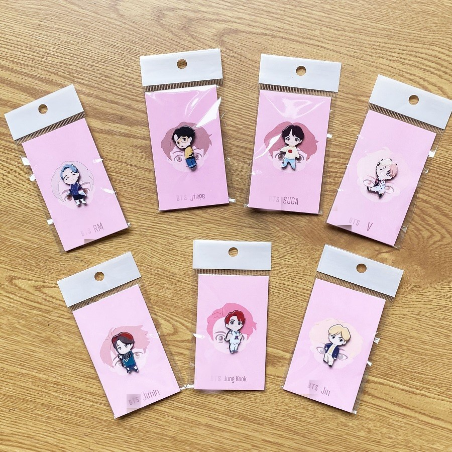 7pcs/lot Kpop Jungkook V Jimin Rm Suga Jin Lovely Cartoon Acrylic Hair Band Hair Hoop Brooch Pin Pendant  Toy Gift