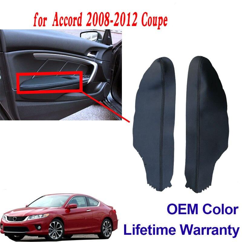 Otomobiller ve Motosikletler'ten Otomotiv İçi Çıkartmaları'de Araba ön kapı paneli kol dayama kapağı için 2 kapı Honda Accord 2008 2012 deri siyah title=