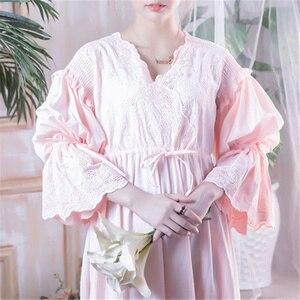 Image 2 - Wiktoriańskie koszule nocne Sleepshirts Vintage bielizna nocna kobiety bielizna nocna z długim rękawem wysoka talia popędzający noc Maxi sukienka Plus rozmiar T282