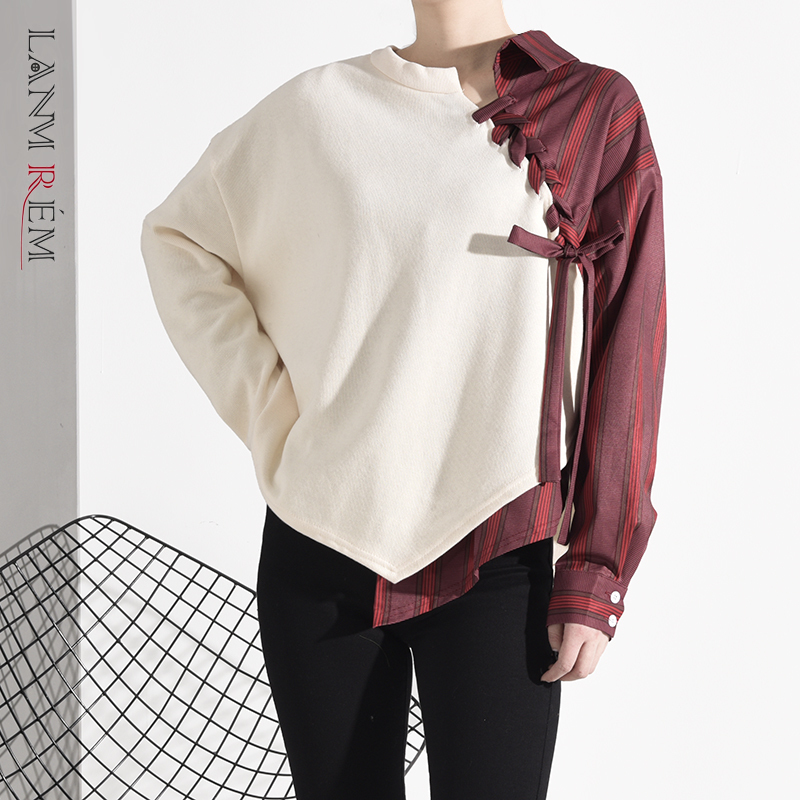 LANMREM 2020 New Spring And Summer Contrast Colors Asymmetrical Striped Sweatshirt Female High Street Top 19B-a477-04-