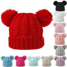 Милая детская шапочка для мальчиков и девочек, пушистая теплая зимняя Осенняя вязаная шапка