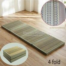 4 сложения соломенный коврик тканевый складной удобный татами матрас прямоугольник складной пол соломенный коврик для сна татами коврик пол