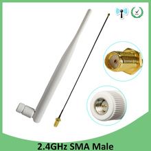 5pcs 2.4Ghz antenna Wifi 5dbi SMA connector white 2.4 ghz antena Omni-Directional Router Antenna +21cm RP-SMA Male Pigtail Cable цена и фото