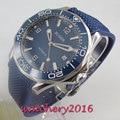 41mm Bliger blauwe wijzerplaat keramische bezel saffierglas datum Mechanische automatische mens horloge
