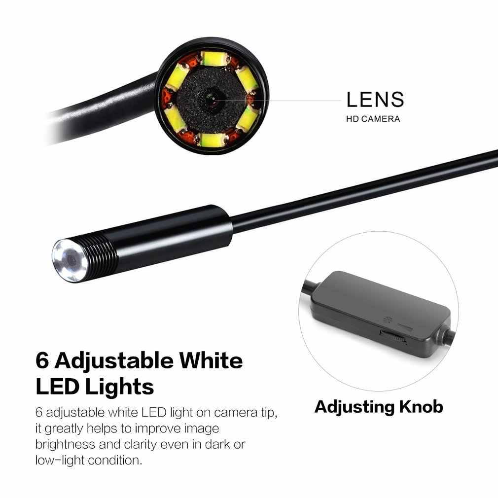 8mm Snake Scope Endoskop Wasserdicht Inspektion HD Kamera Boroskop Für Andorid Windows Mac OS 2m Flexible Kabel USB 6 LED