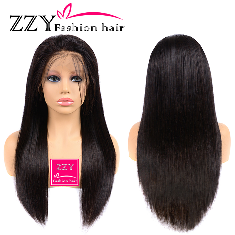 Wigs Hairline Human-Hair-Wigs Brazilian Straight ZZY Pre-Plucked 150%Density title=