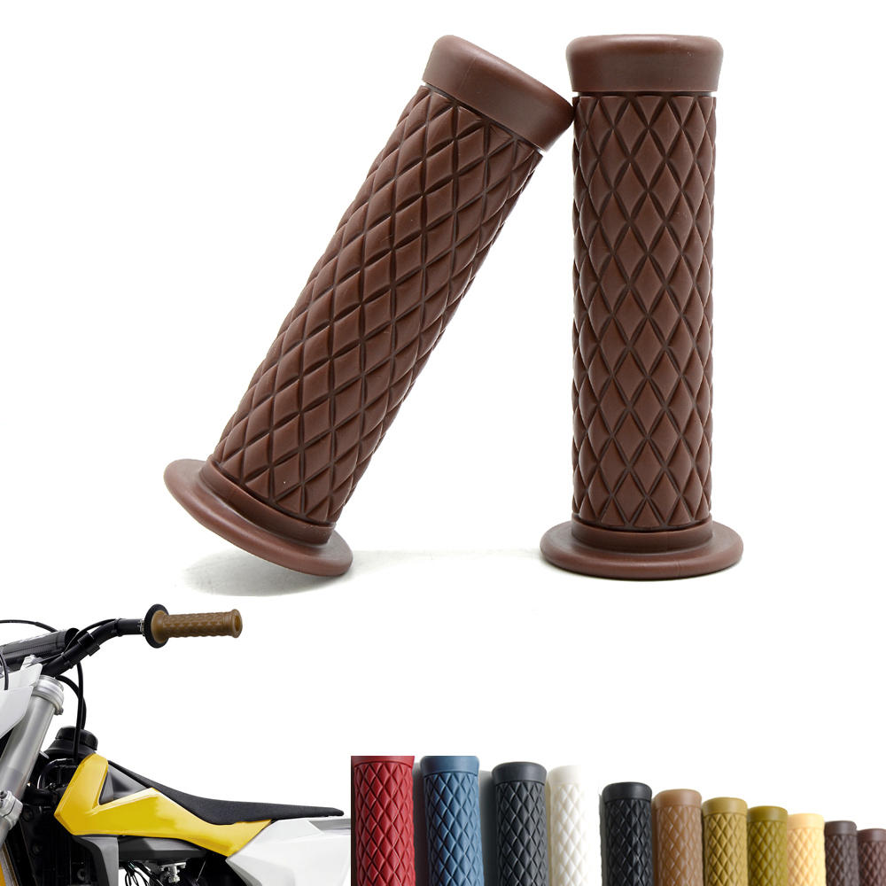 2PCs 25mm Universal  Motorcycle Black Handlebar Hand Grips Cafe Racer Bubber  Clubman Custom For Honda