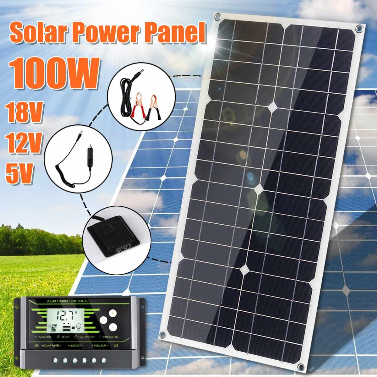 100W 18V Mono Solar Panel USB 12V 5V DC Monocrystalline Flexible Solar Charger For Car RV Boat Battery Charger Waterproof