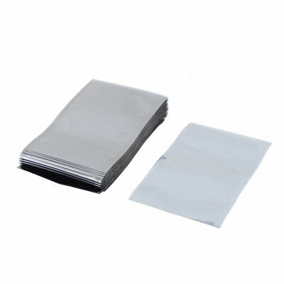 100 Pcs 80mm X 120mm Silver Tone Flat Open Top Anti Static Bag For Electronics