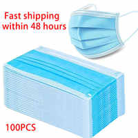 100Pcs Disposable Earloop Face Mouth Masks 3 Layers Anti-Dust Mask Face Mask Prevent Virus Mask Disposable Mask Dustproof Mask