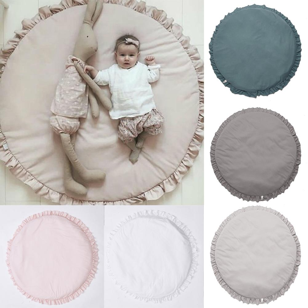 DishyKooker Baby Play Mat Floor Pad Round Lace Brim Carpet Solid Color Children's Room Tent Bed Rug 100cm