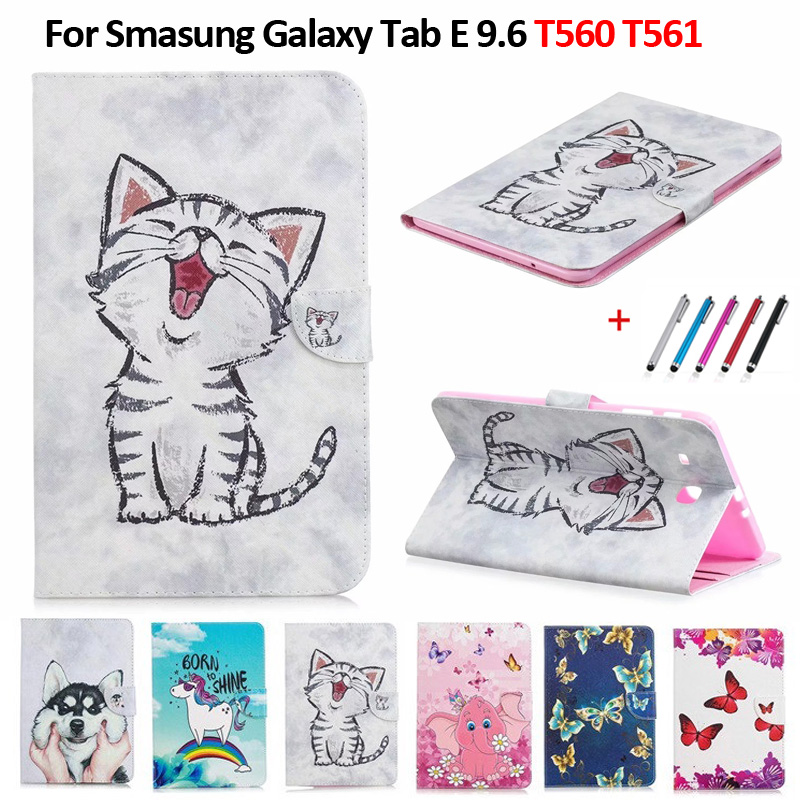 Coque For Smasung Galaxy Tab E 9.6 T560 SM-T560 T561 Cute Cat Unicorn Puppy Butterfly Tablet Cover For Samsung Tab E 9.6 Case